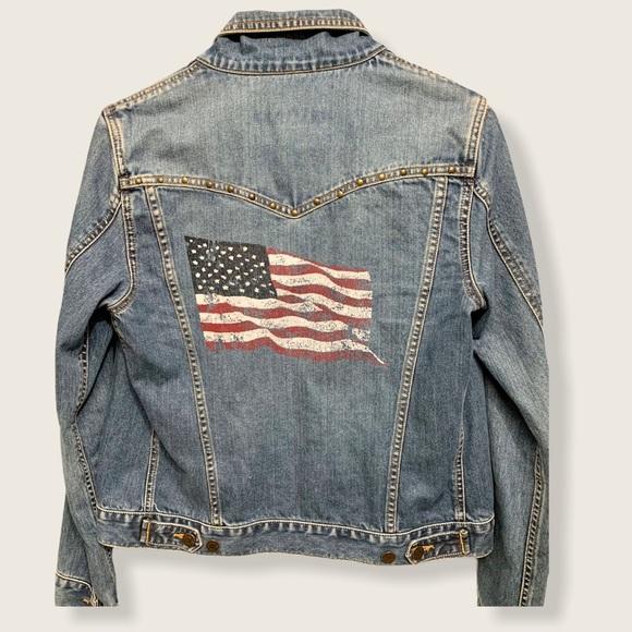 Abercrombie American flag denim Jean jacket